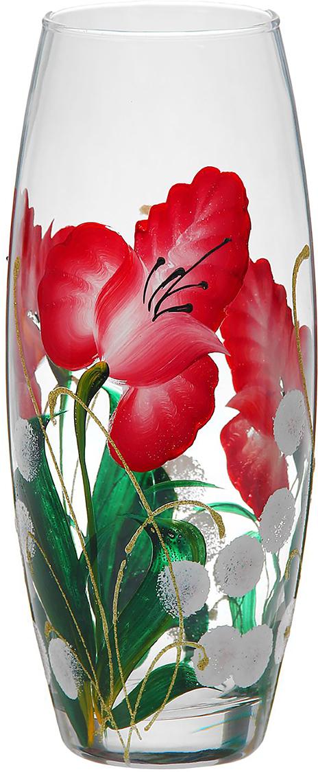 Ваза Красные цветы, 26 см878194Ваза Красные цветы, овальная оригинальной формы выглядит элегантно и стильно. Впишется в любой интерьер, подойдет любителям минимализма и стиля модерн. В стеклянной вазе особенно хорошо смотрятся строгие однотонные букеты. Изделие расписано цветами лаванды, что подчеркнет красоту обладателя как внешнюю, так и внутреннюю. Станет идеальным подарком на любое торжество.