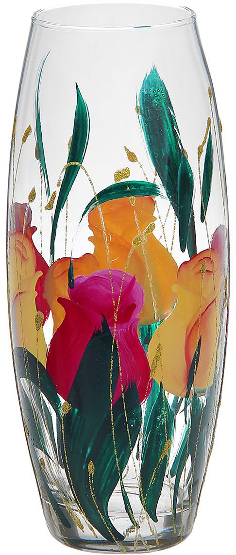 Ваза Весна, 26 см. 878208878208Ваза Весна, овальная оригинальной формы выглядит элегантно и стильно. Впишется в любой интерьер, подойдет любителям минимализма и стиля модерн. В стеклянной вазе особенно хорошо смотрятся строгие однотонные букеты. Изделие расписано розами - символом любви, красоты и весны. Изображение символизирует земную страсть, возрождение, вечность и небесное совершенство. Станет идеальным подарком на любое торжество.