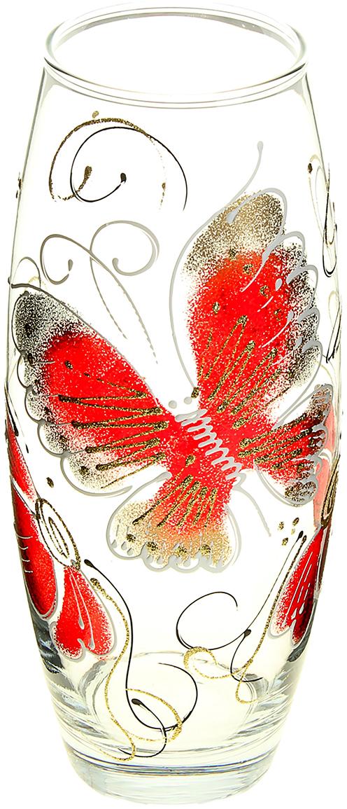 Ваза Бабочка, 26 см878215Ваза Бабочка овальная, красная, блёстки оригинальной формы выглядит элегантно и стильно. Впишется в любой интерьер, подойдет любителям минимализма и стиля модерн. В стеклянной вазе особенно хорошо смотрятся строгие однотонные букеты. Изделие расписано бабочками - символом души, возрождения и бессмертия. Станет идеальным подарком на любое торжество.