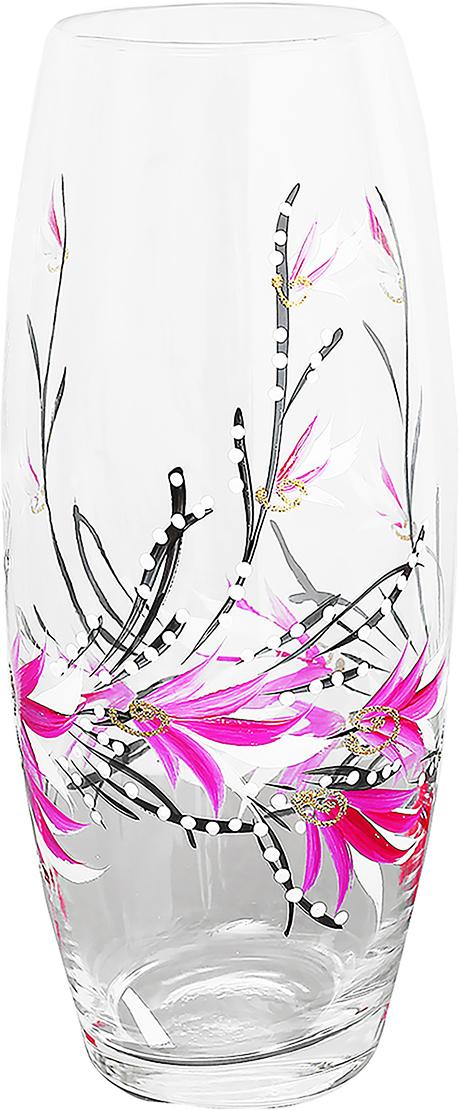 Ваза Майя, 26 см. 878232878232Ваза Майя, овальная оригинальной формы выглядит элегантно и стильно. Впишется в любой интерьер, подойдет любителям минимализма и стиля модерн. В стеклянной вазе особенно хорошо смотрятся строгие однотонные букеты. Изделие расписано цветами лаванды, что подчеркнет красоту обладателя как внешнюю, так и внутреннюю. Станет идеальным подарком на любое торжество.
