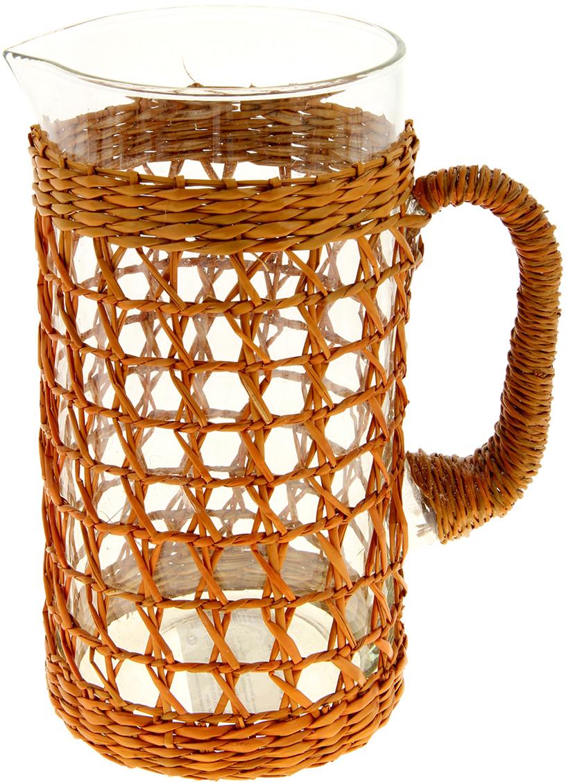 Кувшин Плетёная сеточка, стекло, цвет: коричневый, 20 см909582Прекрасный Кувшин стекло Плетёная сеточка, который станет отличным помощником на Вашей кухне. Посмотрите на «одежку» в которую облачен этом милый кувшин, она действительно напоминает водоросли или даже морские сети. Кажется, что если наполнить кувшин водой, то из нее выплывет изысканная русалочка или даже золотая рыбка, которая исполнит любое Ваше желание.