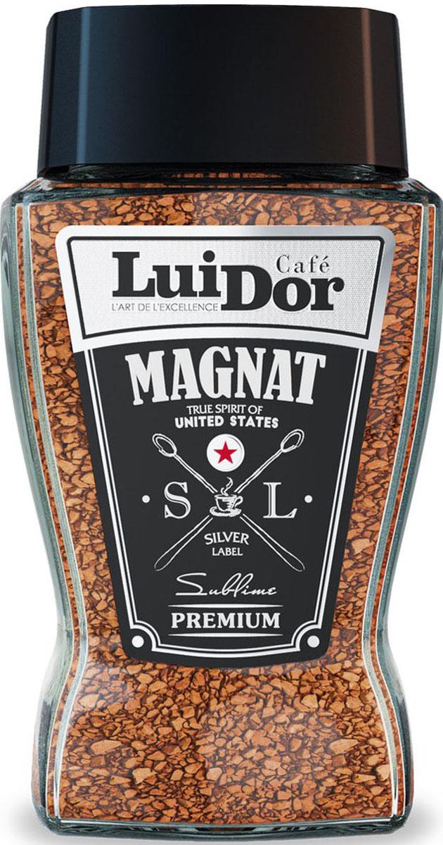 Luidor Magnat Silver Label - это превосходное сочетание молотого и сублимированного кофе из отборных сортов арабики Tarrazu (Коста-Рика) и Supremo (Колумбия).
