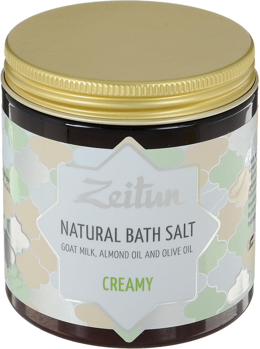 Зейтун Аромасоль для ванны сливочная, 250 млZ2107Превратите свою ванну в сказочную молочную реку! Почувствуйте всю нежность, которую способна подарить Природа и наполните ею каждую клеточку вашего тела. Сливочная ароматическая соль для ванн Zeitun – это экстраполезное и приятно ласкающее кожу сочетание козьего молока и миндального масла, которые великолепно смягчают, витаминизируют, восстанавливают гидролипидный баланс, укрепляют защитный барьер вашей кожи и дарят ей поистине материнскую заботу. Основа из солей Мертвого моря и Индийского океана обеспечивает коже самое богатое микроэлементное питание и оздоровление, а гидрофильные масла оливы и миндаля глубоко увлажняют, полностью впитываясь и не оставляя масляных разводов на воде. В составе уникальной сливочной соли Мертвого моря и Индийского океана – настоящее молоко в сочетании увлажняющими растительными маслами:Козье молоко богато протеинами, аминокислотами, витаминами и микроэлементами, великолепно смягчает, увлажняет, кожу, придает ей здоровый цвет, оказывает выраженное регенерирующее и омолаживающее действие.Масло миндаля – самое гипоаллергенное, мягкое масло, которое идеально подходит для ухода за чувствительной кожей, насыщает ее полезными кислотами и витаминами.Соль Мертвого моря – самая настоящая кладезь для здоровья, у которой нет ни единого аналога в мире. Богатая микроэлементами соль поистине волшебно воздействует на общее состояние организма, борется с кожными заболеваниями, снимает усталость мышц и суставов.Соль Индийского океана обладает уникальным макро- и микроэлементным составом, который высоко ценится в медицине и косметологии. Соль способствует активному насыщению клеток практически всем спектром необходимых веществ, программирует кожу на правильное усвоение и распределение энергии, препятствуя накапливанию жировых отложений.Гидрофильные масла (оливковое, миндальное) проходят высокоэкологичную обработку, благодаря которой они растворяются в воде, насыщая ее витаминами и микроэлементами, при этом