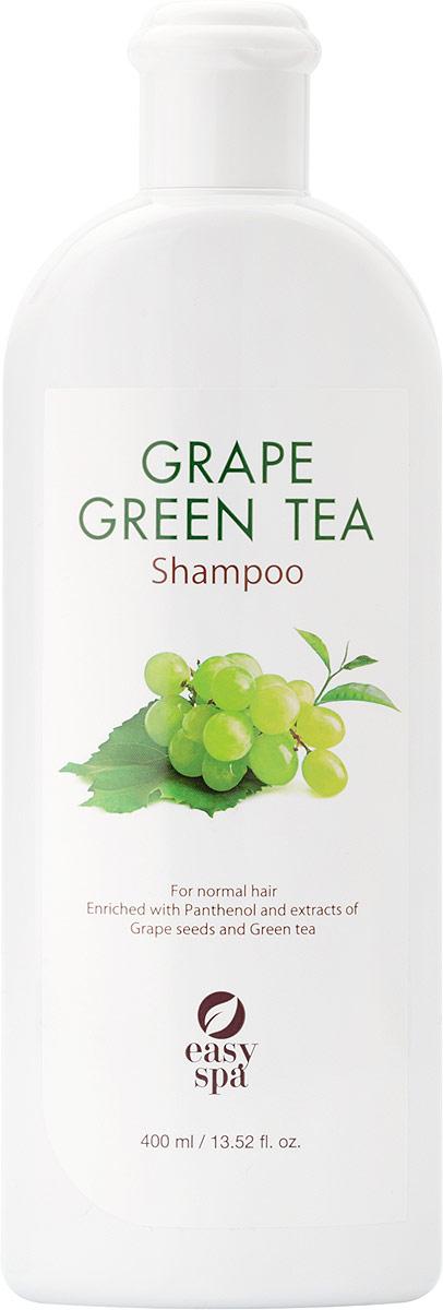 Easy Spa Шампунь для нормальных волос Grape&GreenTea, 400 мл63346Антиоксиданты, содержащиеся в экстракте косточек винограда и зелёном чае, защищают волосы от вредного воздействия свободных радикалов. Виноградное масло легко впитывается в кожу, смягчает и питает её.