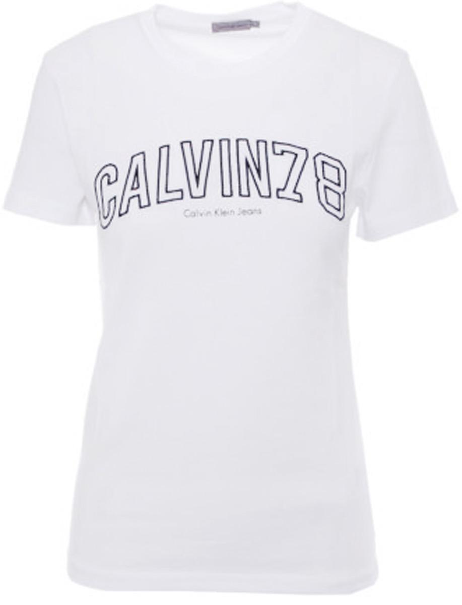 цены на Футболка женская Calvin Klein Jeans, цвет: белый. J20J206859_1120. Размер XS (40/42) в интернет-магазинах