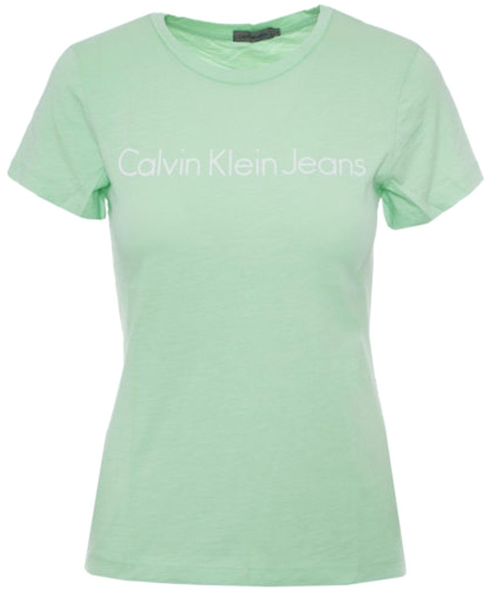 Футболка женская Calvin Klein Jeans, цвет: зеленый. J20J206438_3480. Размер L (46/48)J20J206438_3480Футболка Calvin Klein Jeans выполнена из 100% хлопка. Модель имеет короткие рукава и круглый вырез горловины. На груди дополнена надписями.