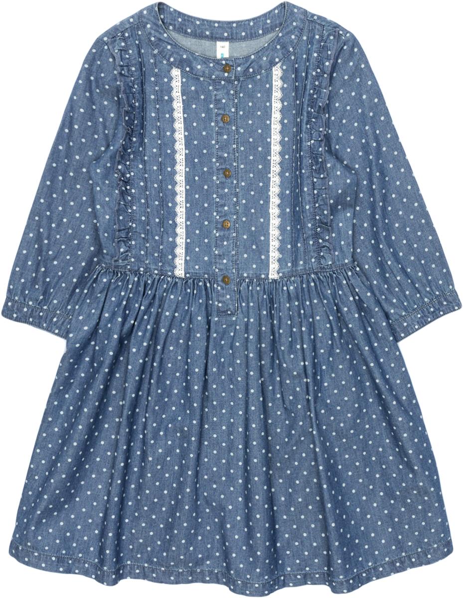 Платье для девочки Acoola Elf, цвет: синий. 20210200207_500. Размер 15220210200207_500Джинсовое платье в горошек, декорированное защипами, оборками и контрастным узким кружевом вдоль планки. Модель имеет приталенный силуэт, круглый вырез горловины, короткую планку с застежкой на пуговицы спереди. Рукава длиной три четверти с манжетами на пуговицах. Без подкладки.