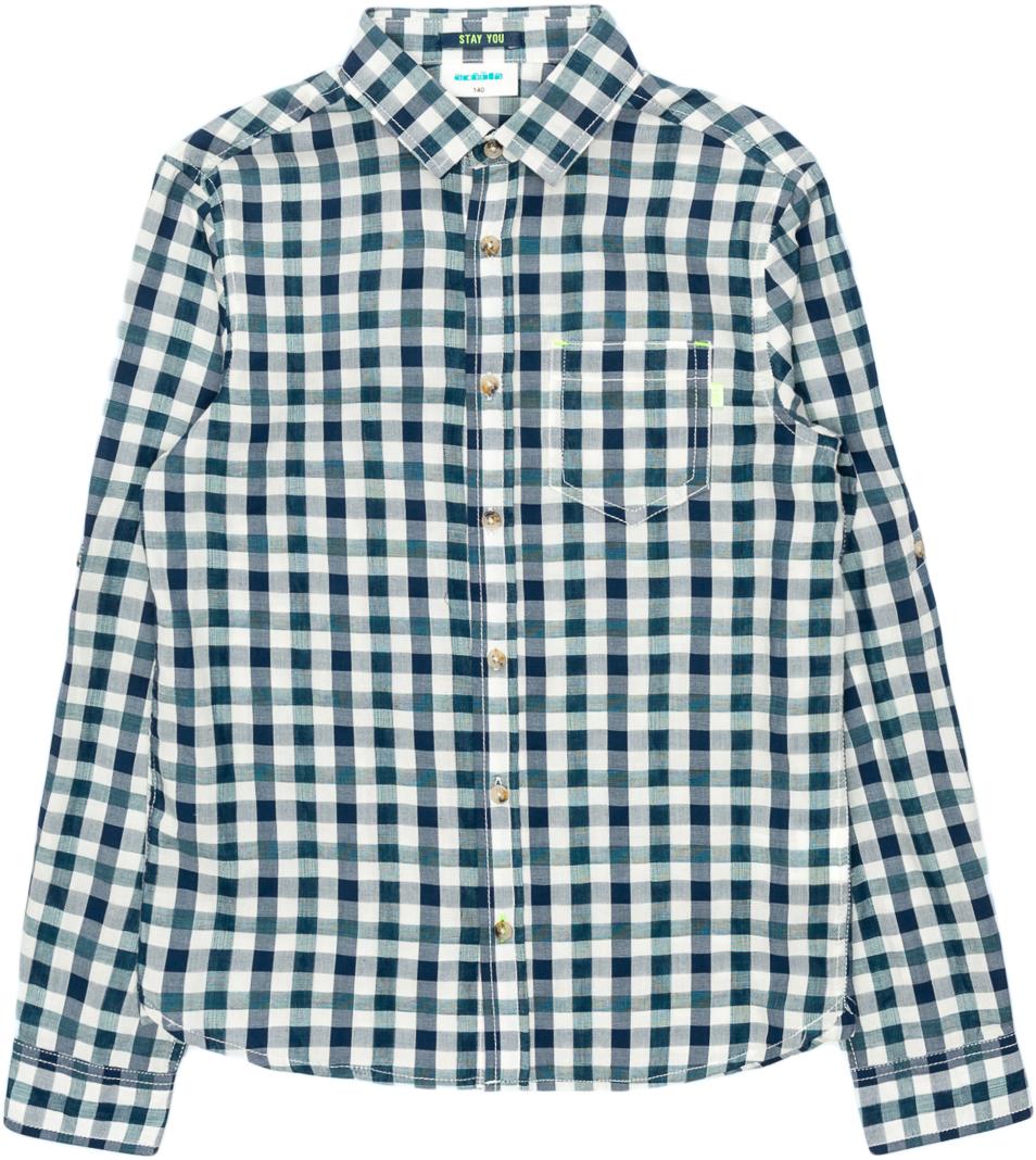 Рубашка для мальчика Acoola Pio, цвет: синий. 20110280064_500. Размер 158 футболка для мальчика acoola carroll цвет зеленый 20120110113 2300 размер 122