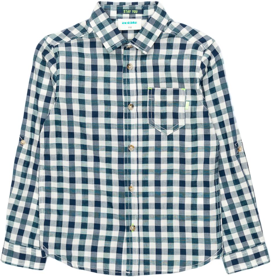 Рубашка для мальчика Acoola Pio, цвет: синий. 20120280044_500. Размер 110 футболка для мальчика acoola carroll цвет зеленый 20120110113 2300 размер 122