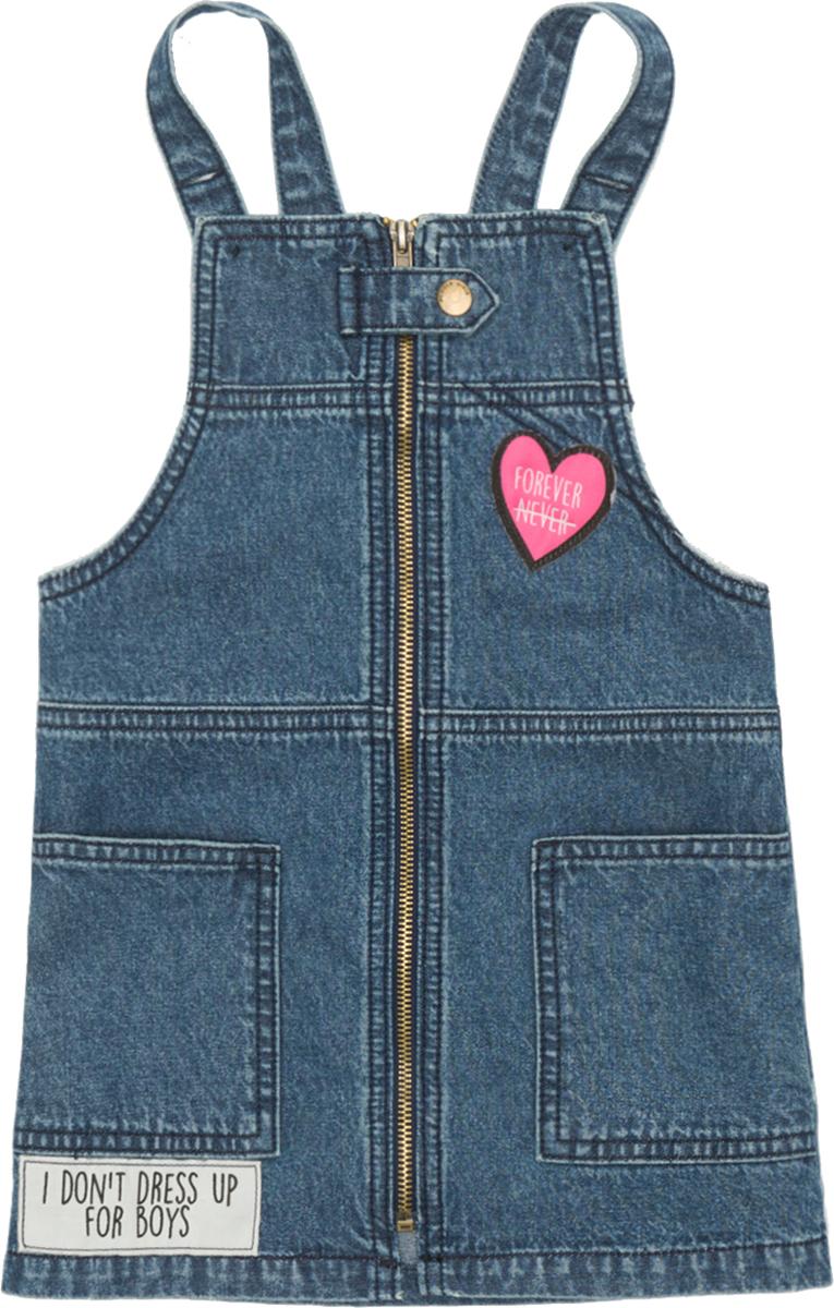 Сарафан для девочки Acoola Pixi, цвет: синий. 20210180064_500. Размер 15820210180064_500Стильный джинсовый сарафан из 100% хлопка. Модель имеет застежку-молнию, два накладных кармана, оригинальные нашивки. Лямки регулируются по длине.