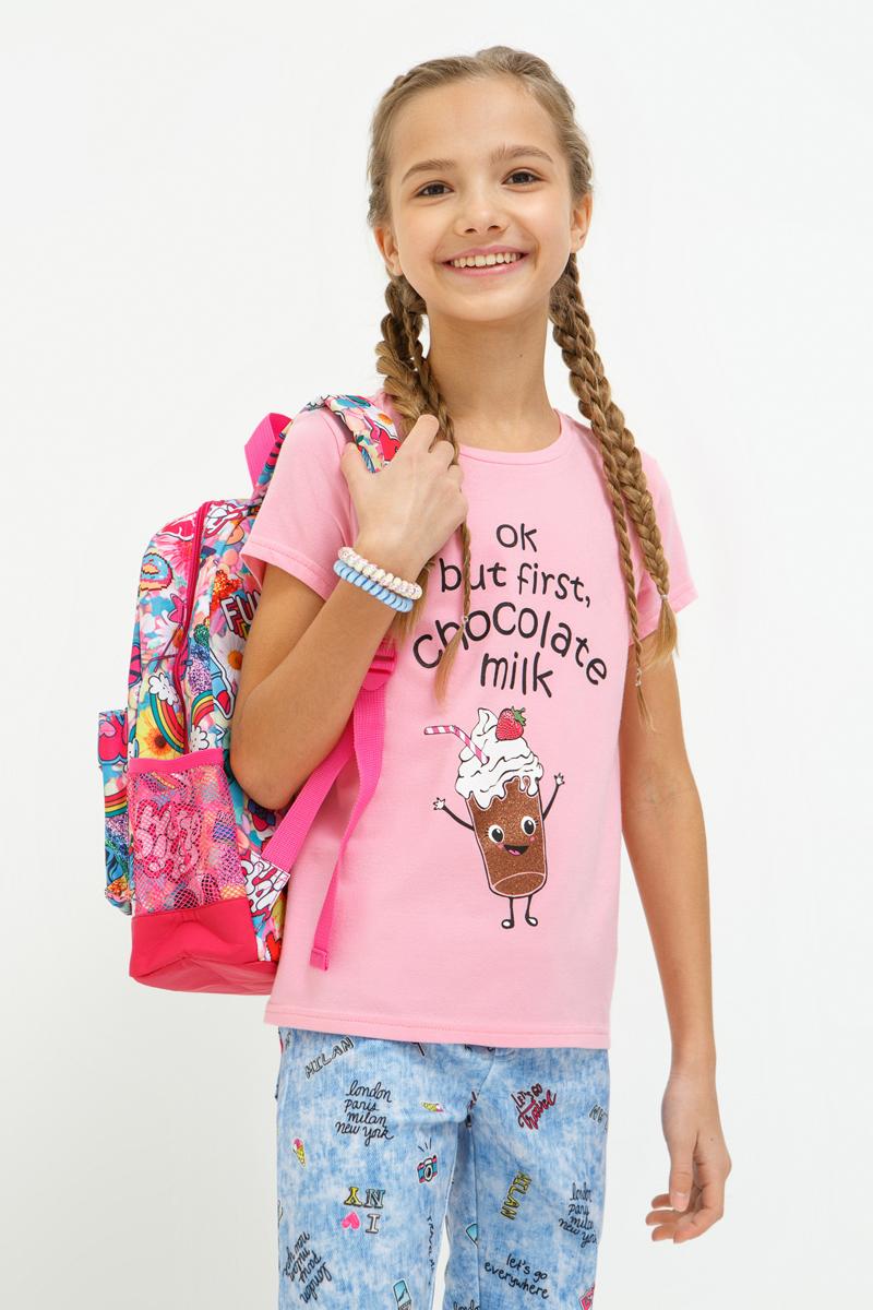 Футболка для девочки Acoola Galina, цвет: светло-розовый. 20210110120_3400. Размер 15220210110120_3400Трикотажная футболка яркой расцветки, декорированная забавным принтом с деталями из блесток. Модель имеет прямой крой, круглый вырез горловины, короткие рукава.