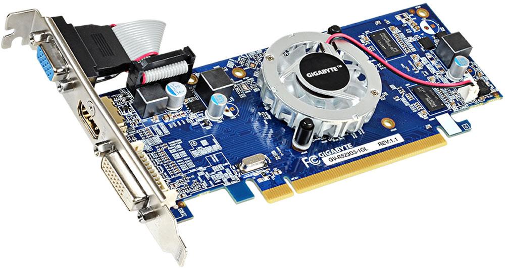 Gigabyte Radeon R5 230 1GB видеокарта (GV-R523D3-1GL)GV-R523D3-1GLВидеокарта Gigabyte Radeon R5 230 — это идеальное решение для обычных пользователей ПК, желающих получить графическую производительность уровня дискретных видеокарт. Наряду с невероятно низким потреблением энергии.Расширьте границы просматриваемых изображений, используя технологию AMD Eyefinity. Получите удовольствие от возможности соединить два или три монитора для создания многоэкранного рабочего стола, что позволит значительно увеличить продуктивность вашей работы.Потрясающая скорость. Полная функциональность. Насыщенное HD-видео. Технология AMD App Acceleration обеспечивает повышенную скорость работы повседневных приложений и улучшенное качество воспроизведения HD-видео.Играйте в 3D-игры, смотрите 3D-фильмы в формате Blu-ray и редактируйте 3D-фотографии на 3D-мониторе, телевизоре или проекторе.Получайте удовольствие от возможностей и технических преимуществ компьютерных игр нового поколения благодаря встроенной поддержке DirectX 11.