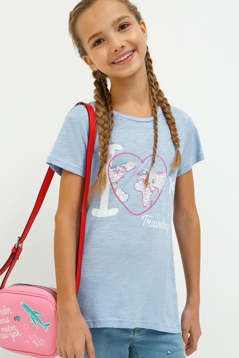 Футболка для девочек Acoola Sima, цвет: голубой. 20210110115_400. Размер 164 слипоны acoola
