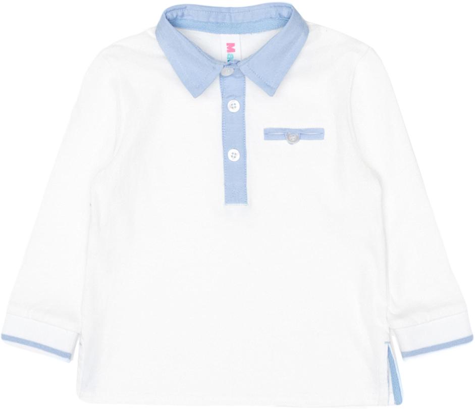 Поло с длинным рукавом для мальчика Maloo by Acoola Diento, цвет: белый. 22150100018_200. Размер 86 джинсы для мальчика maloo by acoola lowe цвет синий 22150160019 500 размер 86