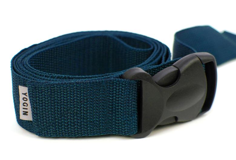 Ремень для йоги Yogin, с силовой пряжкой, цвет: темно-бирюзовый, 4 х 210 см коврик для йоги onerun цвет фиолетовый 183 х 61 х 0 4 см