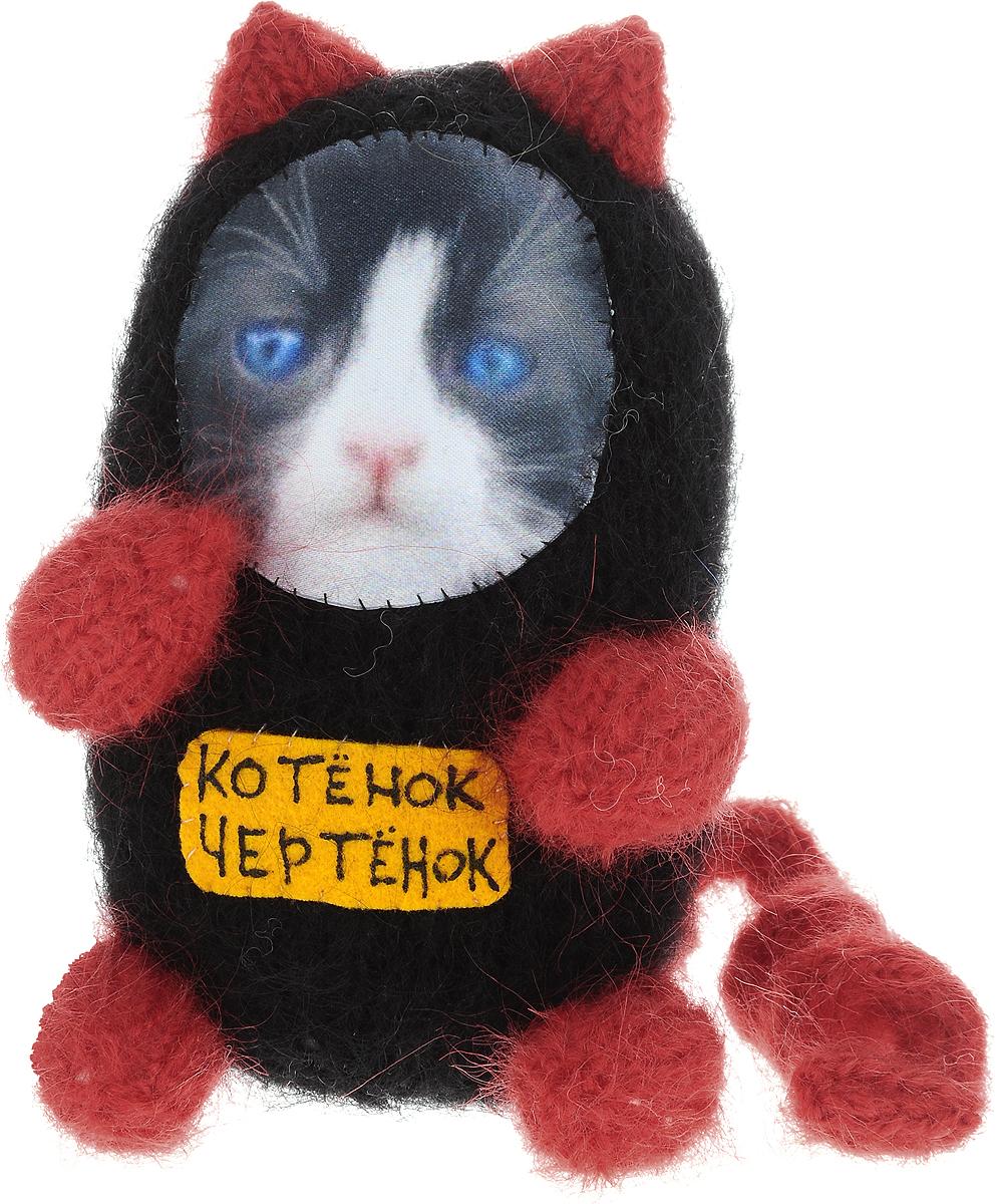 Мягкая игрушка Бюро находок Котенок. Чертенок, цвет: черный, красный рюмка бюро находок сними напряжение цвет прозрачный