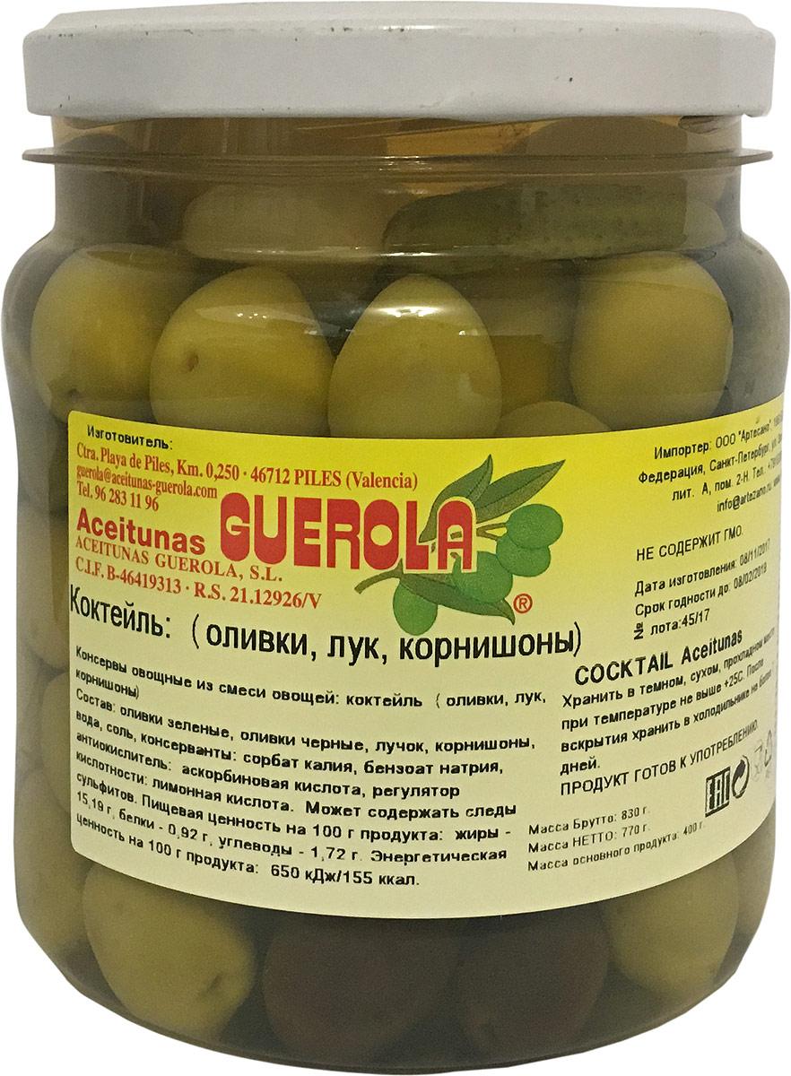 Guerola Коктейль из оливок корнишонов и лука, 770 г8412510117277Уникальные «живые» оливки ( в отличие от промышленных не варятся).Благодаря отсутствию термической обработки сохраняют все полезные свойства.Тонкая текстура и гармоничный вкус в сочетании мягкости и изысканности лука и сладковатым привкусом корнишонов.Прекрасны как самостоятельное блюдо, так и компонент для салатов, пиццы, бутербродов, канапе, а также в качестве украшения закусок и соусов.