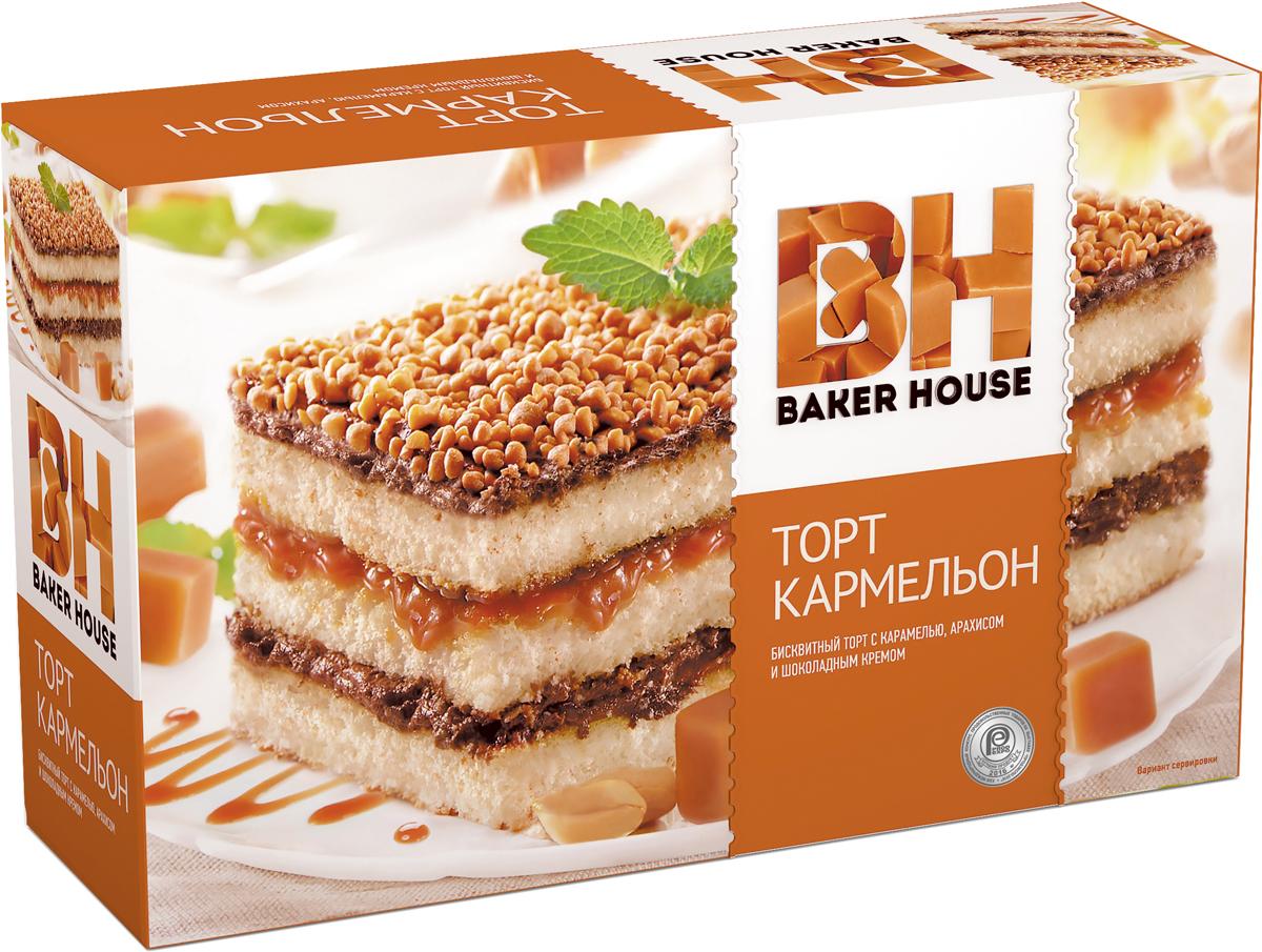 Baker House Кармельон торт бисквитный, 350 г лакомства для здоровья шоколад горький с кунжутом 100г