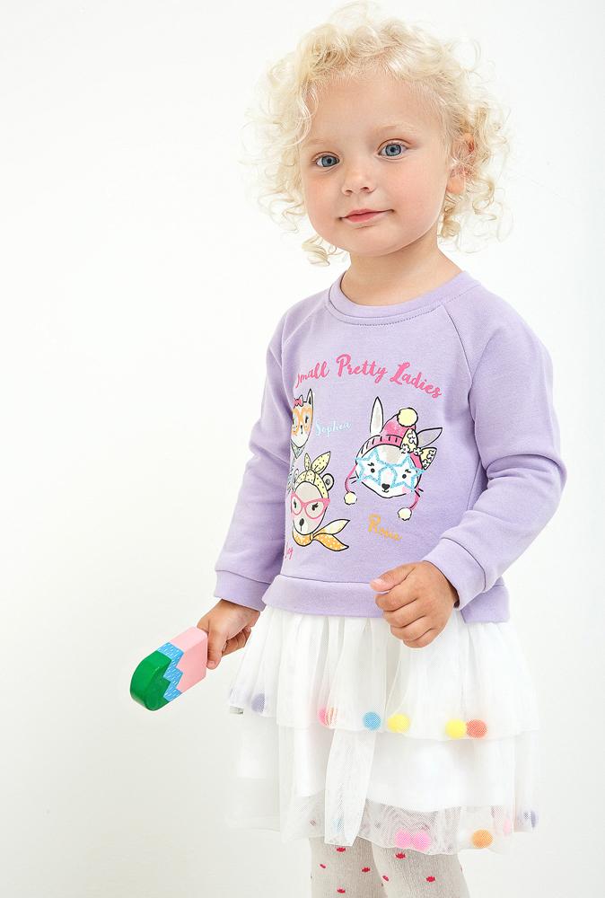 Платье для девочки Maloo by Acoola Santija, цвет: сиреневый, белый. 22250200009_8000. Размер 74 куртка для девочки maloo by acoola vulpix цвет розовый 22250130008 1400 размер 92
