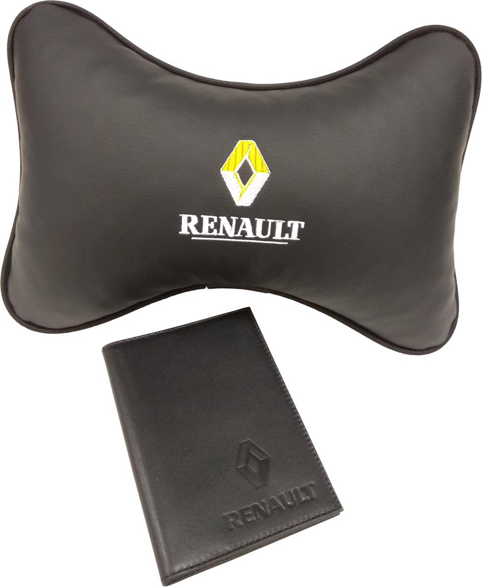 Подарочный набор автомобилисту Auto Premium, с логотипом Renault, 2 предмета67805Лаконичный подарок любому автолюбителю. Подушка в салон автомобиля с индивидуальной вышивкой добавит комфорта при поездке в автомобиле. Бумажник водителя с тиснением автологотипа выполнен из натуральной кожи и имеет презентабельный внешний вид. На внутреннем развороте обложки имеются все необходимые карманы для хранения автодокументов.