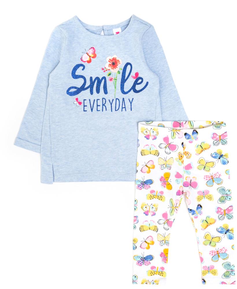 Комплект для девочки Maloo by Acoola Mira: свитшот, леггинсы, цвет: голубой, белый, розовый. 22254180011_8000. Размер 92 лонгслив overmoon by acoola overmoon by acoola ov003egsjs36