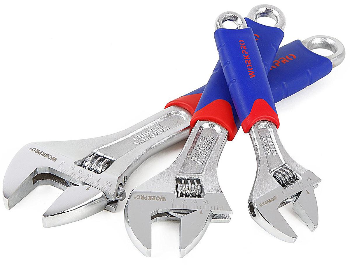 Набор разводных ключей Workpro, с комфортной рукояткой, 3 штW003201Набор выполнен из кованной и закаленной хром-ванадиевой стали. Это обеспечивает высокую прочность и надежность инструмента. 4-х сторонняя усиленная конструкция губ.Конструкция ключа состоит из прочной двутавровой балки.На инструмент нанесено покрытие из хрома, которое отлично защищает ключи от коррозии.Рукоятка инструмента выполнена из прорезиненного эргономического материла, который обеспечивает комфортный захват.Инструмент соответствует требованиям спецификации ANSIНабор включает :1 шт. ключ 150 мм. Рабочий ход 19 мм 1 шт. ключ 200 мм. Рабочий ход 23,8 мм 1 шт. ключ 250 мм. Рабочий ход 28,6 ммГабариты набора : 300х220х30 мм. Вес 950 гр.