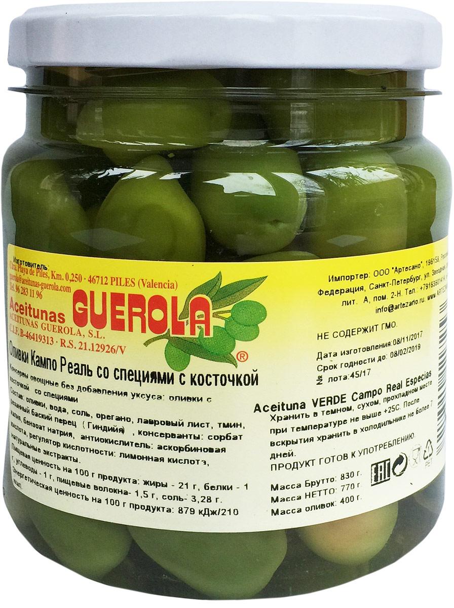 Guerola Оливки изумрудные Кампо Реаль со специями с косточкой, 770 г amado зеленые оливки с косточкой со специями по арабски крупные 350 г