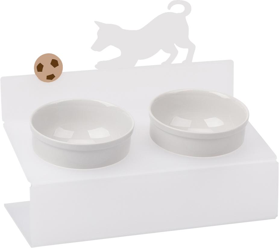 Миска для животных Artmiska  Собака и мяч , двойная, на подставке, цвет: белый, полупрозрачный, 2 x 350 мл - Аксессуары для кормления