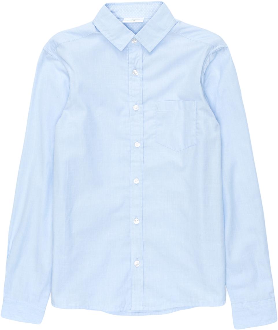 Рубашка для мальчика Acoola Norton, цвет: голубой. 20140280029_400. Размер 15820140280029_400Классическая рубашка из хлопковой ткани, декорированная принтованной отделкой на изнаночной стороне. Модель имеет прямой крой, классический отложной воротник, длинные рукава с манжетами на пуговицах. Один накладной карман на груди. Небольшие треугольные вставки с фирменной вышивкой по бокам.