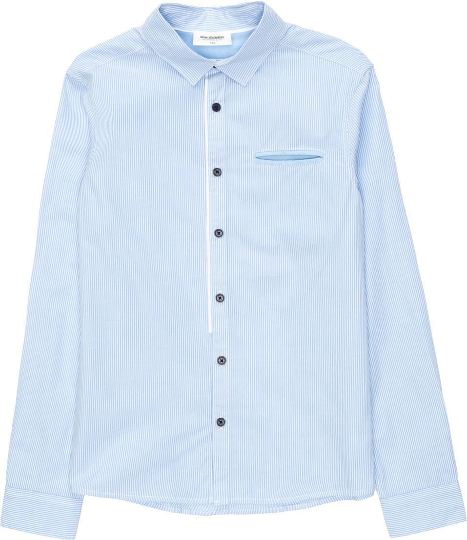 Рубашка для мальчика Acoola Lippi, цвет: голубой. 20140280028_400. Размер 13420140280028_400Классическая рубашка из хлопковой ткани в полоску. Модель имеет полуприлегающий крой, классический отложной воротник, длинные рукава с манжетами на пуговицах. Один ложный прорезной карман на груди.