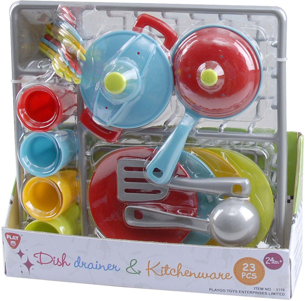 Фото Playgo Игровой набор Сушилка с посудой 23 предмета