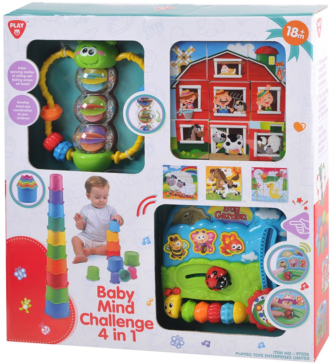 Playgo Развивающая игрушка Формочки Бабочка Кубики Центр