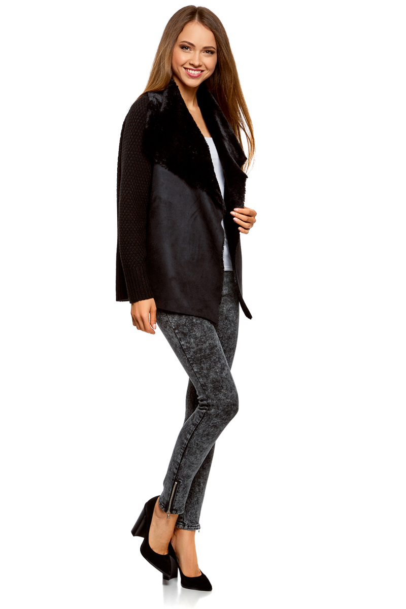 Жакет женский oodji Collection, цвет: черный. 73205182-1/31328/2900N. Размер XS (42) платье oodji collection цвет черный белый 24001104 1 35477 1079s размер l 48