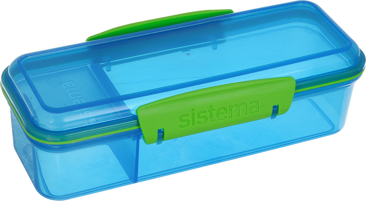 Контейнер пищевой Sistema To-Go, с разделителем, цвет: голубой, 410 мл. 2147921479Пищевой контейнер Sistema To-Go предназначен для людей с активным образом жизни, для тех кто все успевает. Оригинальная система клапана для закрытия различные емкости контейнеров. Надежность закрытия контейнера. Материал контейнера свободный от фенола и других вредных примесей.