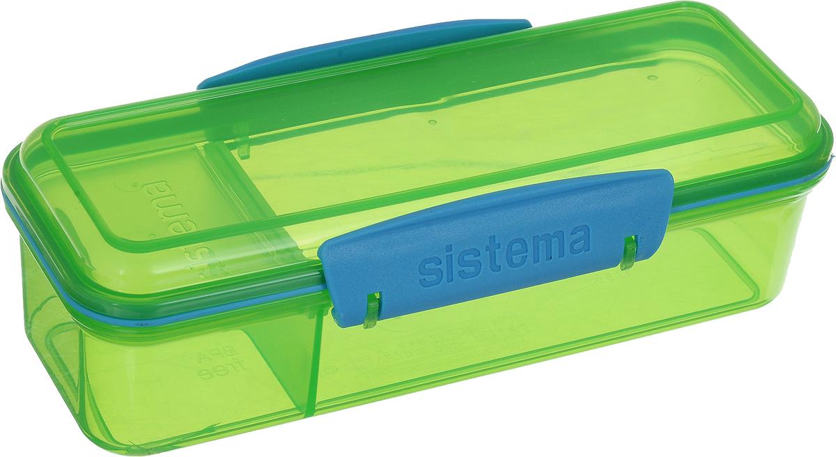Контейнер пищевой Sistema To-Go, с разделителем, цвет: салатовый, 410 мл21479_салатовый, прозрачныйКонтейнер Sistema To-Go отлично подходит для тех, кто зачастую перекусывает на работе или вдороге. Два отделения для продуктов позволяют не перемешивать их. Эко-пластик, из котороговыполнен контейнер, безопасен для здоровья, так как не содержит фенола и примесей.Оригинальный дизайн клипс гарантирует надежность крепления, а уплотнитель в крышкесохраняет свежесть и аромат продуктов.Можно мыть в посудомоечной машине. Общий размер контейнера (по верхнему краю): 19 х 7 см. Высота контейнера (с учетом крышки): 6 см. Размер меньшего отделения (по верхнему краю): 6 х 7 см. Размер большего отделения (по верхнему краю): 13 х 7 см.