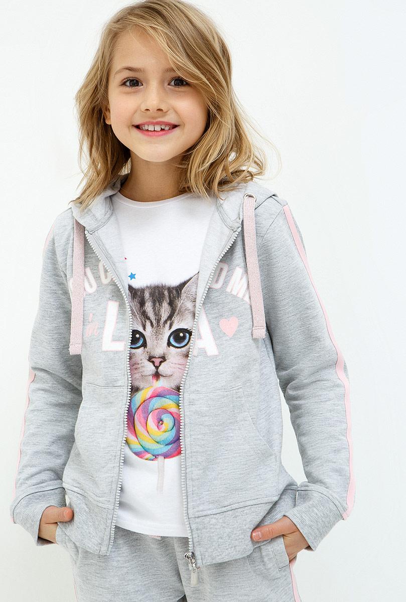 Толстовка для девочки Acoola Mariya, цвет: серый. 20210130123_1900. Размер 158