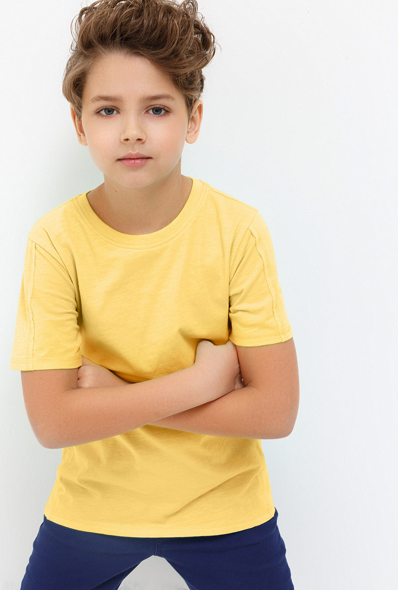 Футболка для мальчика Acoola Beckham, цвет: желтый. 20110110100_1200. Размер 13420110110100_1200Детская футболка Acoola станет стильным дополнением к детскому гардеробу. Модель выполнена из натурального хлопка, приятная на ощупь. Модель с круглым вырезом горловины и короткими рукавами.