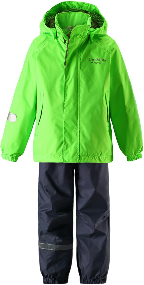 Комплект одежды детский Lassie: куртка, брюки, цвет: зеленый. 7237218270. Размер 1167237218270Прочный детский комплект Lassie состоит из куртки и брюк. Водоотталкивающий и ветронепроницаемый материал хорошо пропускает воздух, так что в этой куртке не вспотеешь. Куртка снабжена безопасным съемным капюшоном. Гладкая подкладка из полиэстера хорошо пропускает воздух и облегчает одевание. В куртке предусмотрены прорезные карманы. Брюки снабжены регулируемыми манжетами. Светоотражающие детали позволят лучше разглядеть маленьких любителей приключений, играющих на свежем воздухе в темное время суток.