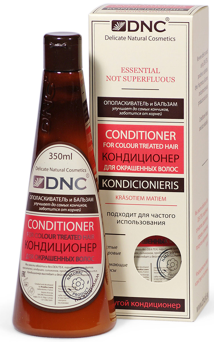 DNC Кондиционер для окрашенных волос, 350 млE8/5Действие бальзама направлено на решение двух проблем, связанных с окрашиванием волос. Повреждения, наносимые агрессивными компонентами краски, восстанавливаются и компенсируются комплексом растительных активов. Масла, экстракты и витаминные добавки подпитывают и укрепляют волосы. Уменьшение яркости и насыщенности цвета, вызванное нарушением внешней структуры волос, исправляется протеиновыми комплексами, разглаживающими и выравнивающими их поверхность.