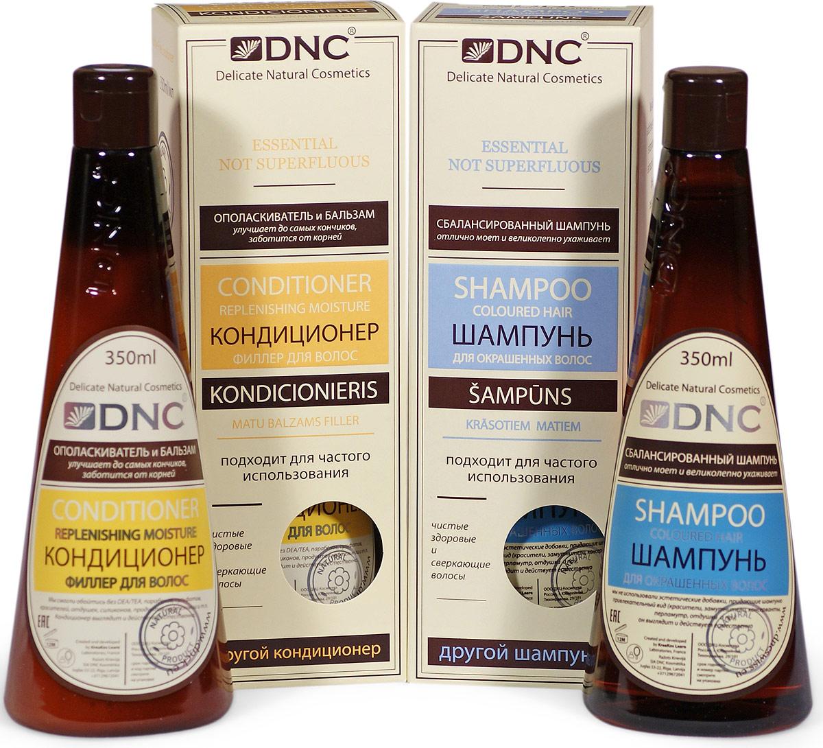 DNC Набор: Шампунь для окрашенных волос, 350 мл, Кондиционер-филлер для волос, 350 мл4751028208560Шампунь для Окрашенных Волос, 350 мл: Все что возможно и ничего лишнего. Виртуозно подобранное сочетание мягких очищающих компонентов. Они взаимно дополняют активность друг друга, компенсируя и нейтрализуя раздражающее действие. Встроенные в моющую систему натуральные защитные и восстанавливающие элементы помогают волосам дальше оставаться чистыми, сверкающими и здоровыми. Особое внимание уделено максимально бережному очищению волос. Моющая основа действует мягко, не усугубляя повреждения кутикул волос, неизбежно травмируемой при окрашивании. Активный комплекс работает с корнями волос, поддерживая их продуктивную способность. Питает и стимулирует обменные процессы в коже головы. По длине волос ухаживающей системой решается задача по защите цвета, поддержанию здорового блеска и восстановлению секущихся волос.Кондиционер-Филлер для волос 350 мл: Бальзам нежно проходится по волосам от корней до кончиков, питая луковицы, уплотняя и усиливая каждый волосок, заполняя поврежденные чешуйки и увеличивая толщину волос. Окрашенные, пересушенные или очень тонкие по природе волосы получают дополнительный объем, включая в свою структуру специально подготовленные цепочки растительных протеинов. Поверхность волос становится более гладкой, приобретает живой и привлекательный блеск.