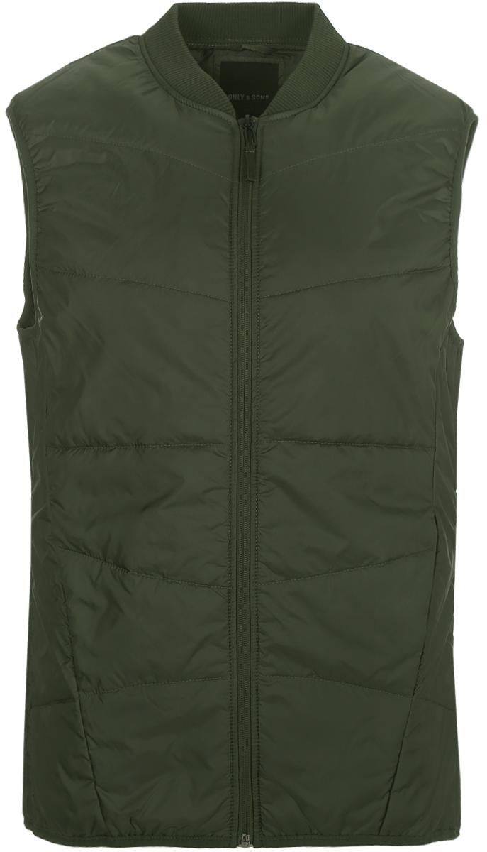 Жилет утепленный мужской Only & Sons, цвет: зеленый. 22008596_Thyme. Размер L (50) цена 2017