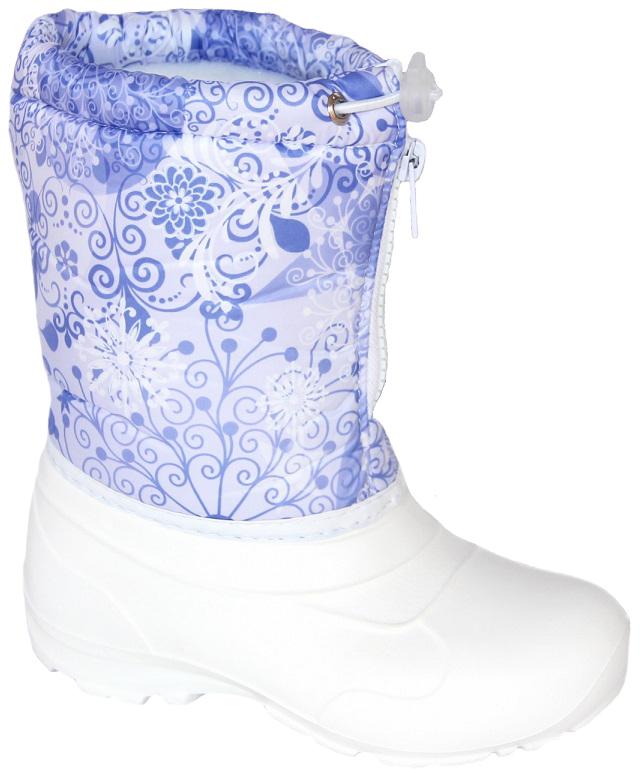 Норды детские Дарина Варенька, цвет: белый. Размер 33-34Д604/33-34белНорды детские Варенька очень легкие и теплые.Низ норда выполнен из морозостойкого материала ЭВА, и анти-скользящей подошвы. Верх норда выполнен из сверхпрочного материал Step и многослойной водоотталкивающей ткани - Drive, что позволяет сохранить ноги Вашего ребенка в тепле и сухости.Тип: Сапоги. Утепленные: да. Температурный режим: до -20С. Дизайн: для детей. Страна производителя: Россия.Сырье продукта: ЭВА. Материал подошвы: ЭВА. Cостав текстильного элемента: фиксатор, люверсы, шнур-резина, молния. Название ткани: Дюспо 210 + ППУ. Свойства ткани Дюспо – это прочная ткань из синтетических волокон (нейлона или полиэстера) определенной структуры с нанесенным полиуретановым покрытием (PU или PVC). Это покрытие обеспечивает водонепроницаемость ткани оксфорд и препятствует накоплению грязи между волокнами. Рулонный пенополиуретан (ППУ) широко используется в обувной промышленности. Не съёмный. Кол-во слоев: 3. Вид ткани: ворсин + стелька ЭВА. Состав ткани: однослойное ворсованное полотно из полиэстера. Поверхностная плотность 400 г/м2. Используется как альтернатива искусственному меху. Швы 0,5-0,7. Технология шва: стачной шов с открытым срезом, стачной шов с обметанным срезом, окантовка верхнего среза тесьмой.