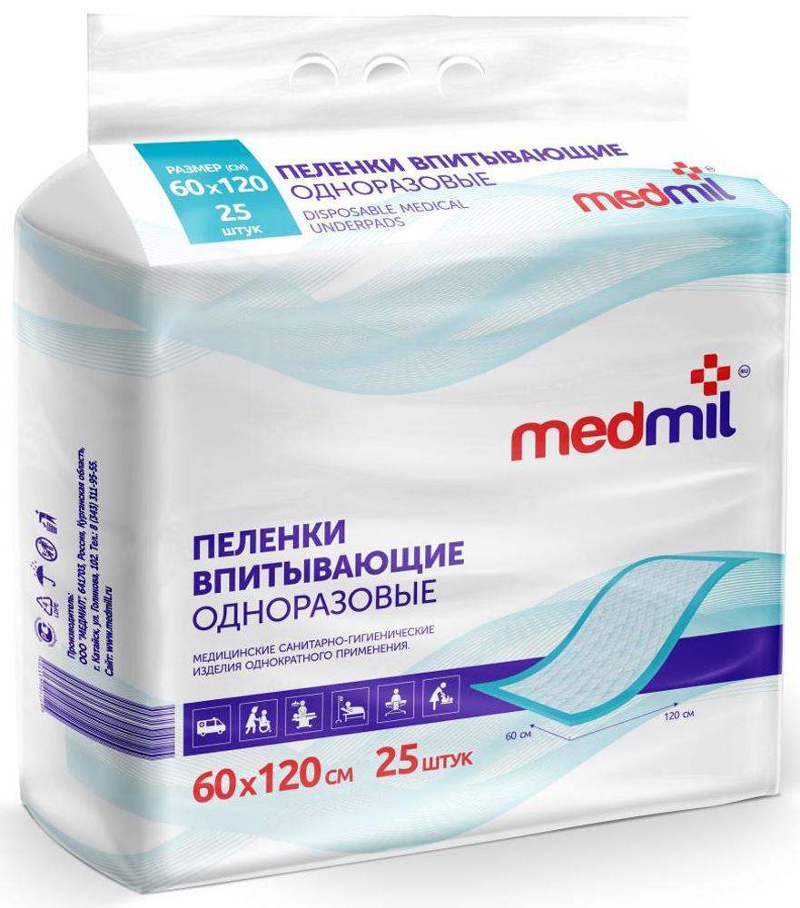 Пеленка впитывающая одноразовая Medmil Оптима 60 х 120 см, 25 шт12 МО П2 30 Г 120Пелёнки защищают постельное бельё от промокания, а кожу пациента от мацераций и пролежней. Облегчают уход, повышают комфорт для пациента. Пелёнки Медмил не уступают лучшим импортным аналогам. Пеленка 60х120 см - уникальный, всё более популярный размер!
