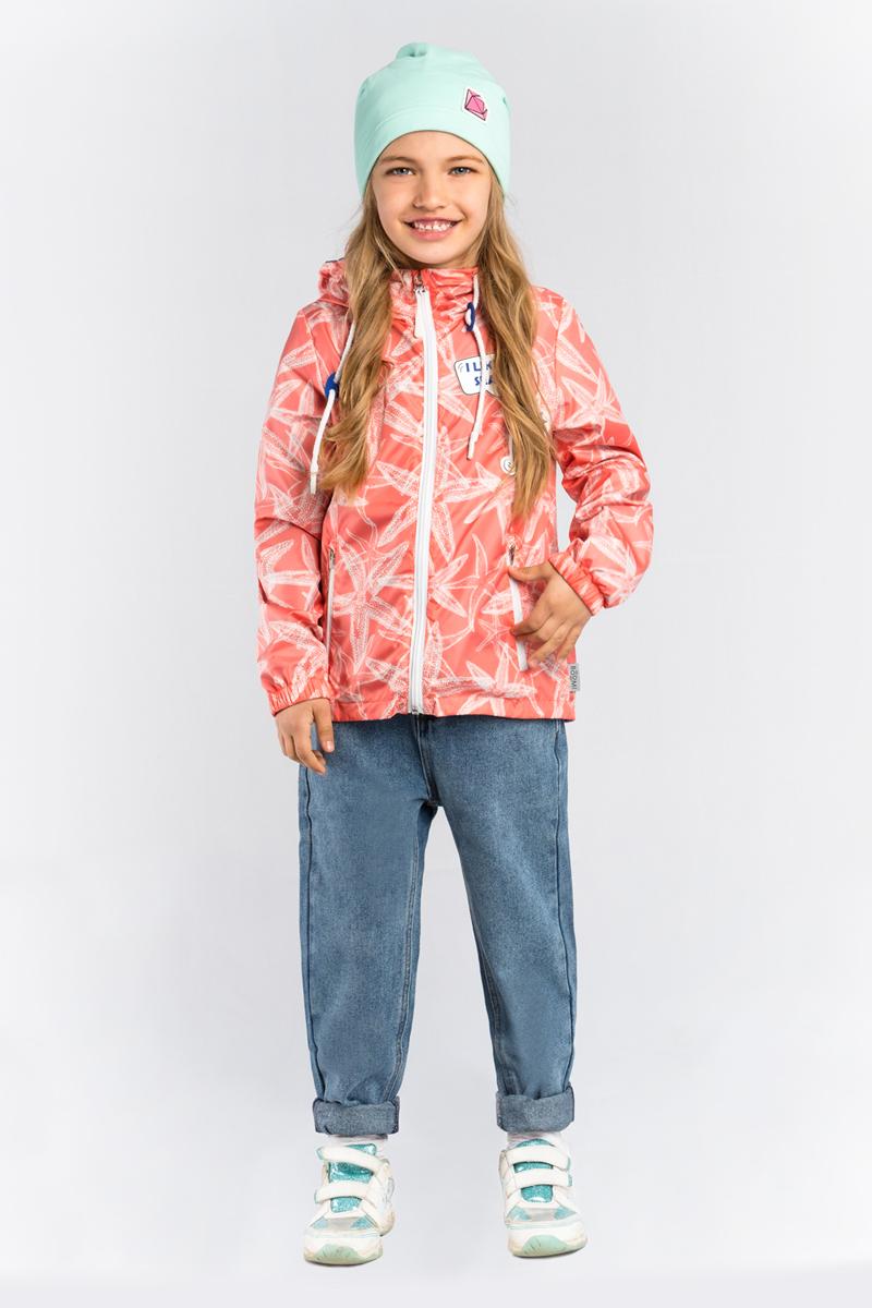 Куртка для девочки Boom!, цвет: красный. 80001_BOG. Размер 11080001_BOGЛегкая куртка от Boom! на хлопковой подкладке, с принтом морские звёзды, прекрасно защитит от теплого летнего ветерка или моросящего дождика. Модель с длинными рукавами и капюшоном застегивается на молнию. По бокам дополнена втачными карманами на молниях.
