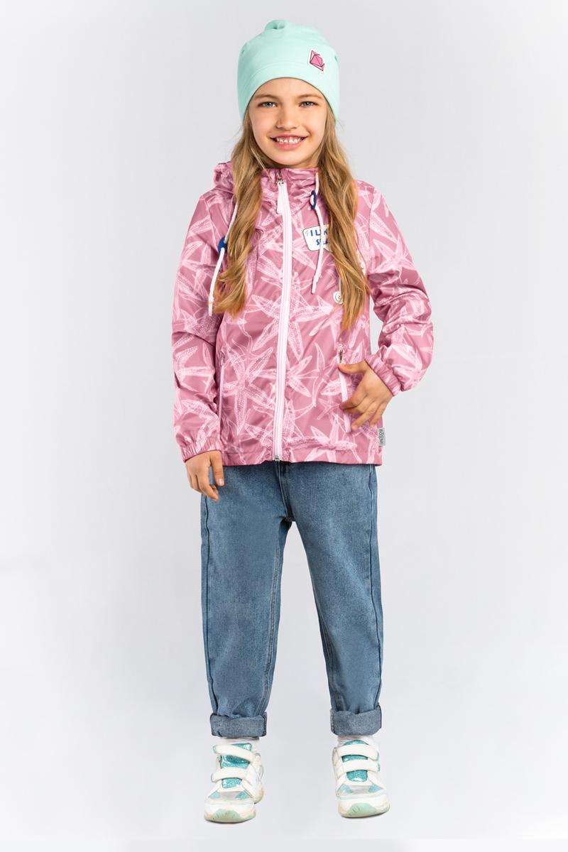 Куртка для девочки Boom!, цвет: розовый. 80001_BOG. Размер 11080001_BOGЛегкая куртка от Boom! на хлопковой подкладке, с принтом морские звёзды, прекрасно защитит от теплого летнего ветерка или моросящего дождика. Модель с длинными рукавами и капюшоном застегивается на молнию. По бокам дополнена втачными карманами на молниях.