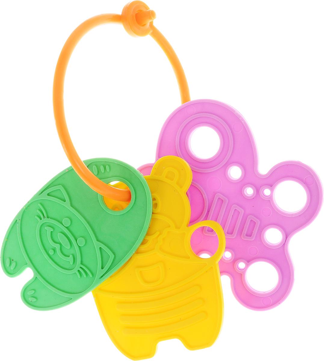 Котики Вперед Прорезыватель Кот бабочка и мишка цвет зеленый желтый сиреневый
