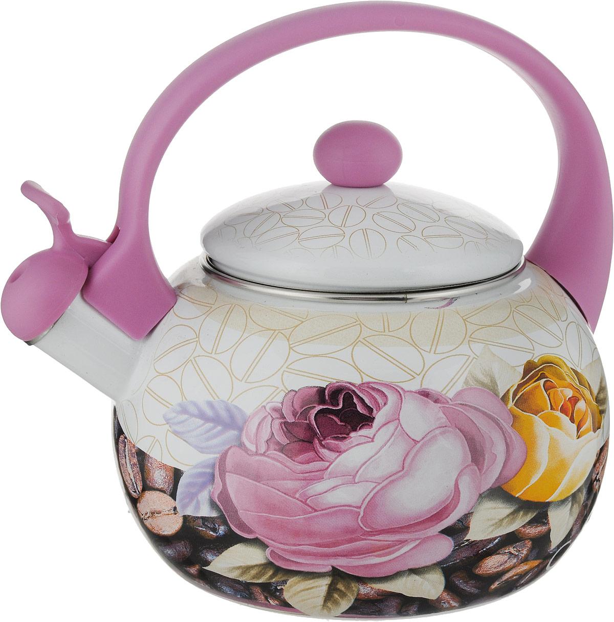 Чайник эмалированный Bohmann Чайная роза, со свистком, 2,5