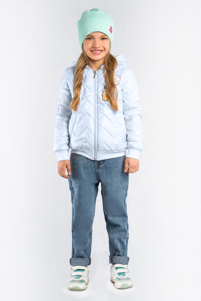 Куртка для девочки Boom!, цвет: голубой. 80005_BOG. Размер 12280005_BOGКуртка-бомбер для девочки Boom! выполнена из высококачественного материала. Стёганная модель с капюшоном застегивается на застежку-молнию.