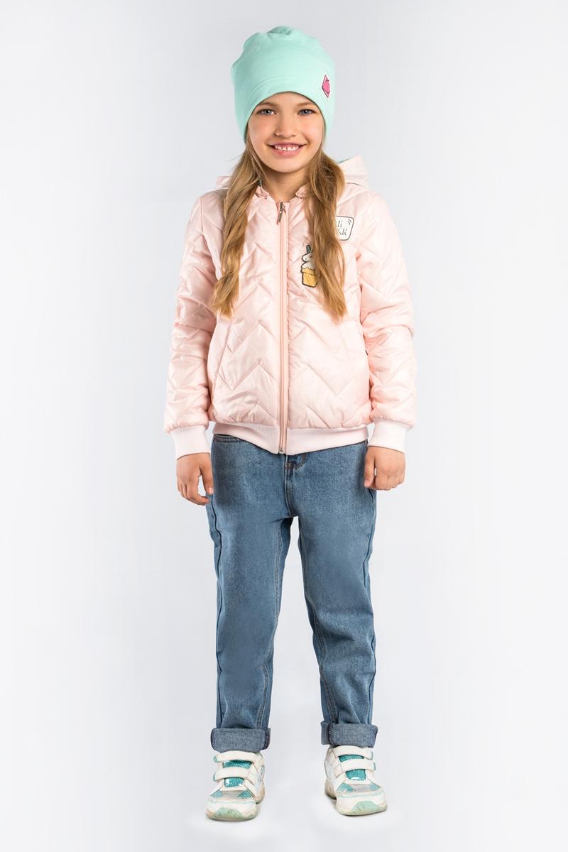 Куртка для девочки Boom!, цвет: светло-розовый. 80005_BOG. Размер 15280005_BOGКуртка-бомбер для девочки Boom! выполнена из высококачественного материала. Стёганная модель с капюшоном застегивается на застежку-молнию.