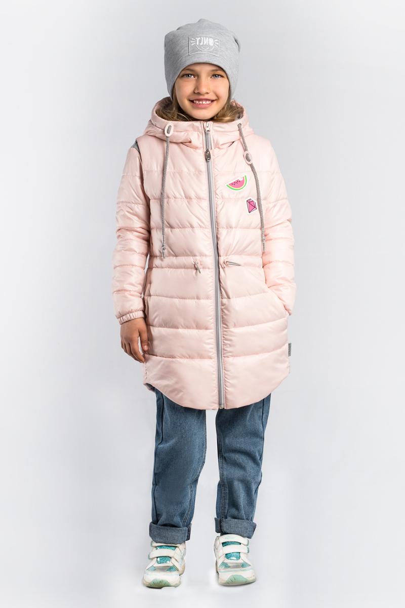 Куртка для девочки Boom!, цвет: светло-розовый. 80004_BOG. Размер 15880004_BOGУдлиненная куртка для девочки Boom! 3 в 1. В одной модели - сразу три вещи: тёплая куртка, удлиненная жилетка и толстовка из футера петельного с рукавами из ткани верха. Тепло, стильно и практично! Куртка с капюшоном застегивается на застежку-молнию.
